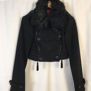 bebe wool military crop jacket